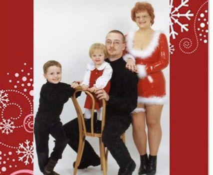Magazine insert of a family's holiday photo card.
