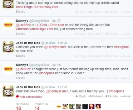 This nifty tweet sparked a battle of wits between Jack and Denny's. I'm such an instigator.
